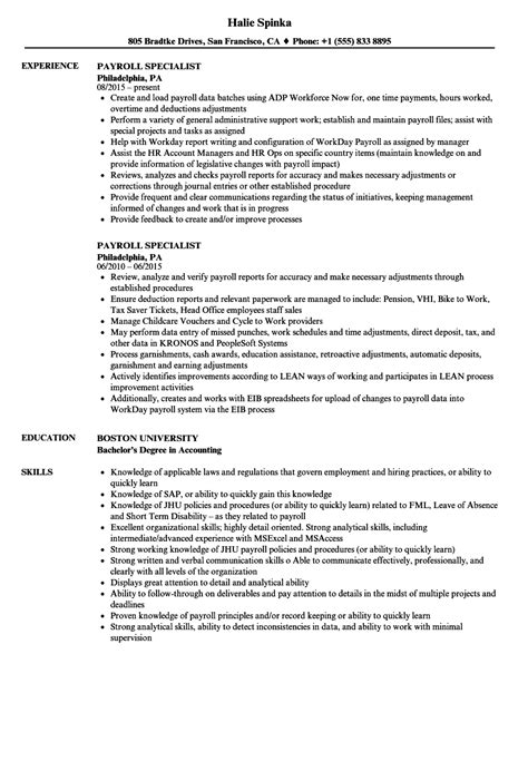 Payroll Specialist Resume by Payroll Specialist Resume Sles Velvet