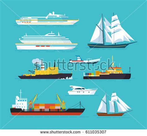 boat size for ocean travel set ships modern flat style ships stock vector 611035307