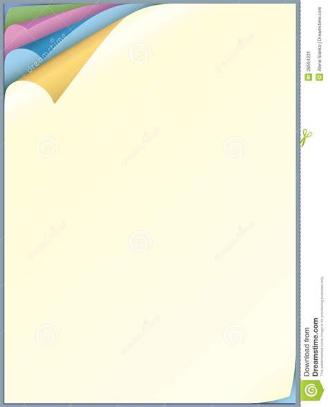 folha do papel da cor para escrever imagem de stock