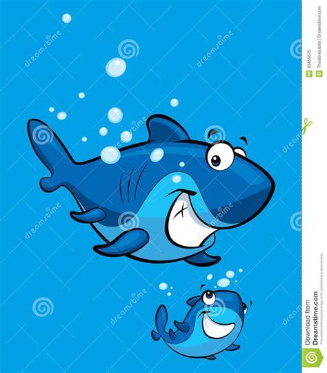 baby shark instrumental cartoon smiling shark family royalty free stock photo
