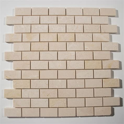 crema marfil polished 1x2 brick pattern stone tile glass tile home