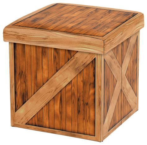 wood crate ottoman vintique folding storage ottoman wooden crate design