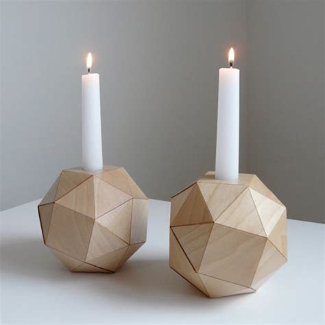 Contemporary Candle Holders Geometric Wood Candlesticks By Analog Contemporary