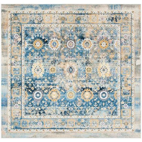 Distressed Area Rug Shop Safavieh Claremont Chystie Blue Gold Square Indoor Distressed Area Rug At Lowes