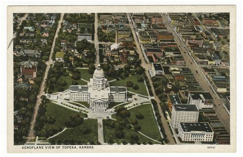 Topeka Kansas Records Aerial View Of The State Capitol And Downtown Area In Topeka Kansas Kansas Memory