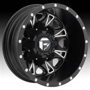 Dually Truck Wheels Fuel D513 Throttle Dually Matte Black Milled Truck Wheels