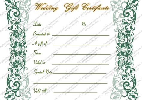 wedding gift certificate template wedding gift certificate templates