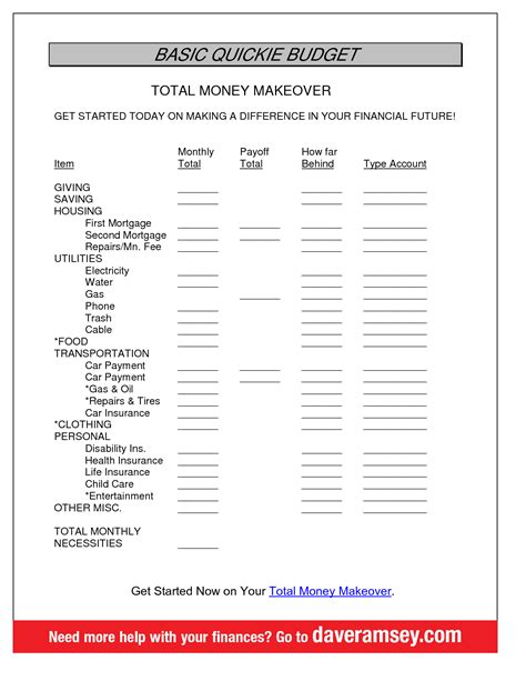 budget template dave ramsey best photos of dave ramsey monthly budget printable free