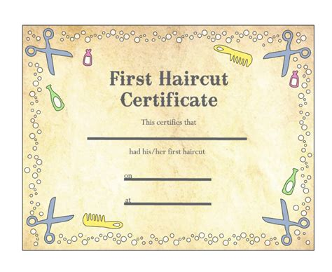 gift certificate for free haircut template images