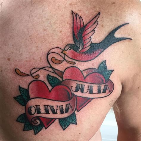 family heart tattoos traditional sparrow and hearts family by