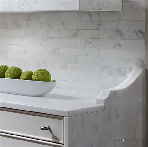 Kitchen Marble Backsplash | marble subway tiled backsplash transitional kitchen