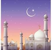 Free Vector Beautiful Mosque With Eid Mubarak Moon