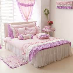 Girls Queen Size Comforter Purple Pink White Girls Ruffle Full Queen Size Duvet Cover