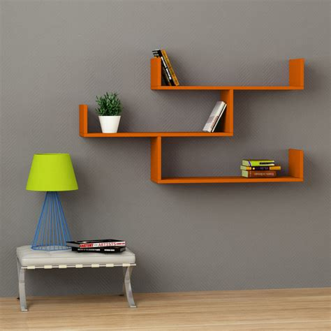 tibet wall shelf orange contemporary display and wall