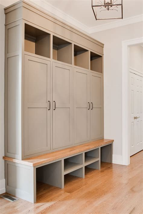 foyer built in cabinets custom built in lockers in mud room warn stone sherwin