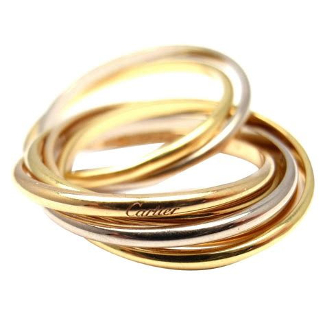 cartier 7 band tricolor gold ring at 1stdibs