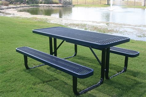 6 ft picnic table rhino 6 foot rectangular thermoplastic steel picnic table