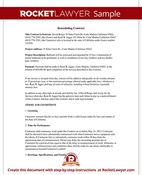 home improvement contract agreement template with sle