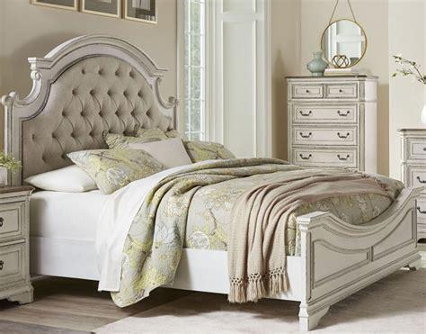 stevenson manor distressed white king upholstered panel bed  standard furniture coleman