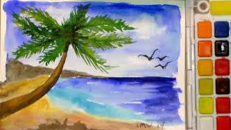 how to paint a tropical beach in watercolor full tutorial