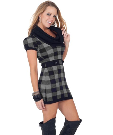 plaid sweater sleeve cowl neck fitted warm winter plaid sweater mini dress top