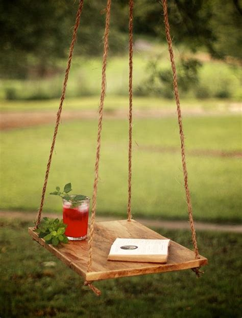 Hanging Patio Table Hammock Table Outdoor Hanging Table Rope Hung End Table Backyard Patio Reclaimed Barn