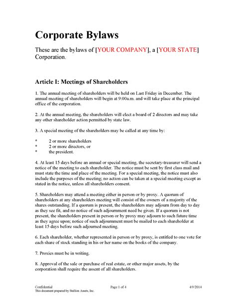 Bylaws Template For Corporation Choice Image Template Design Ideas Robert S Of Order Bylaws Template