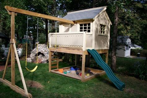 playhouse with swings playhouse swing set sand box baby pinterest