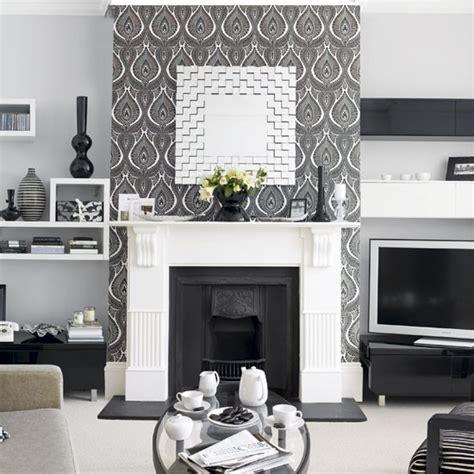 Grey Living Room With Wallpaper Monochrome Living Room Housetohome Co Uk