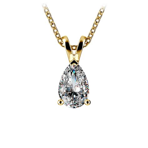 pear solitaire pendant in yellow gold 1 ctw