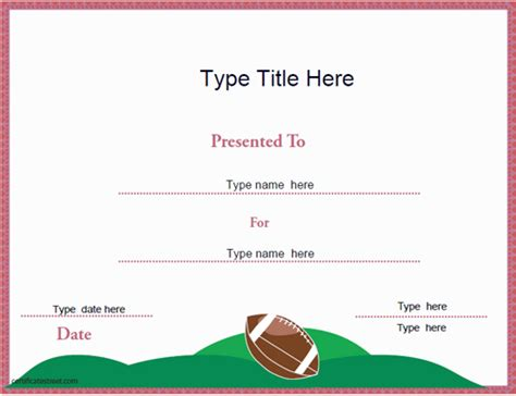 sports certificates american football certificate