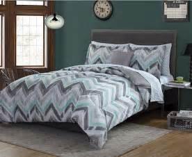 green grey white chevron geometric 8 piece comforter