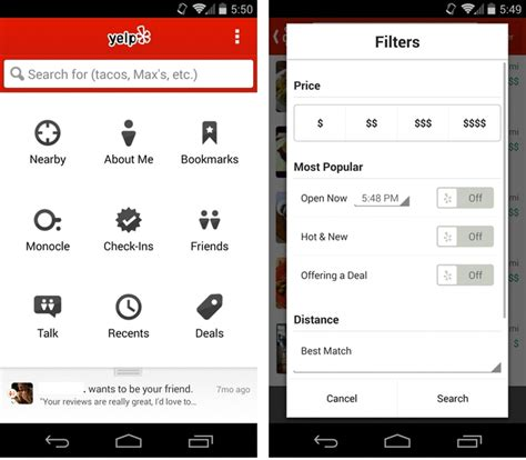 yelp app android yelp improves its android app with new search filters better review layouts mobilesyrup