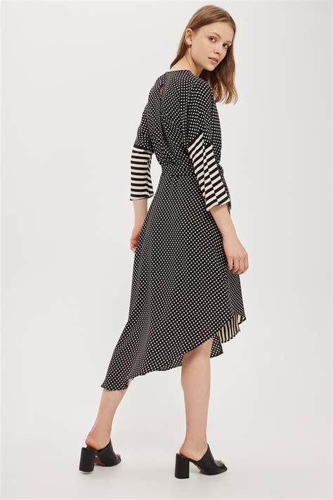 spot stripe mid wrap dress topshop