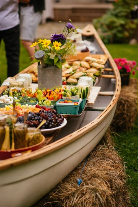 how to set up an outdoor buffet in a canoe simple bites