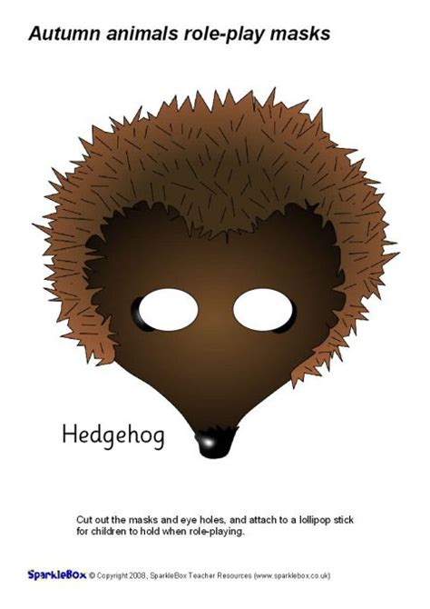 printable echidna mask autumn animal role play masks sb1780 sparklebox