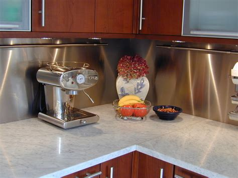 stainless steel backsplash contemporary kitchen