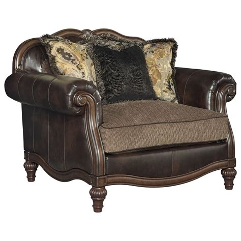 Traditional Chair And A Half Ottoman By Signature Design Half Ottoman
