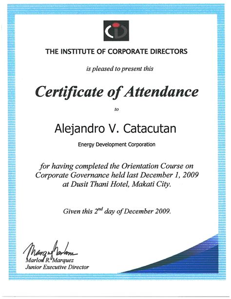 certificate of attendance sle template the energy development corporation sec pse reports on