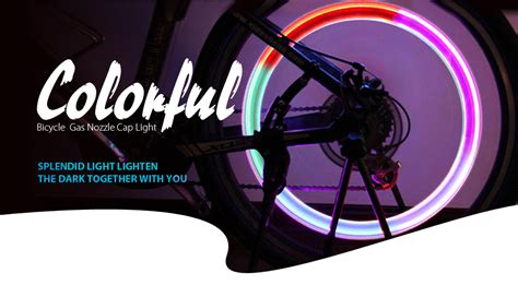 Colorful Lights Gas Nozzle Valve Mountain Bike 5 Led bicycle colorful gas nozzle valve cap light ag10 button