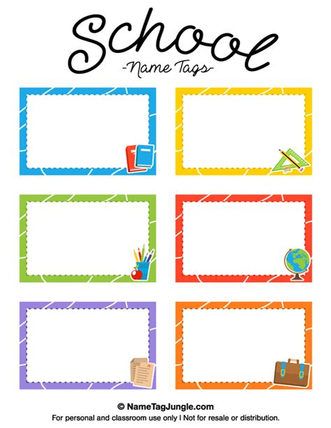 Printable School Name Tags School Book Labels Template