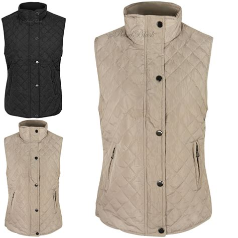 Womens Quilted Vest by Womens Gilet Quilted Sleeveless Jacket Vest Top Waistcoat Bodywarmer Size Ebay