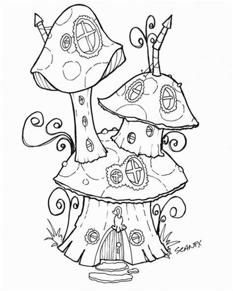 mushroom house coloring page free fairy house download sommer tegninger og kunst