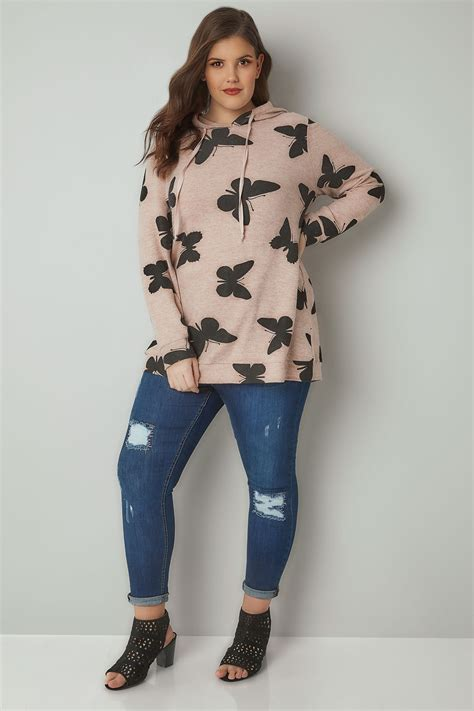 div placement blush pink butterfly print soft touch hooded jumper plus