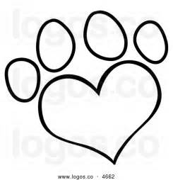 Black And White Heart Paw Print Clip Art sketch template