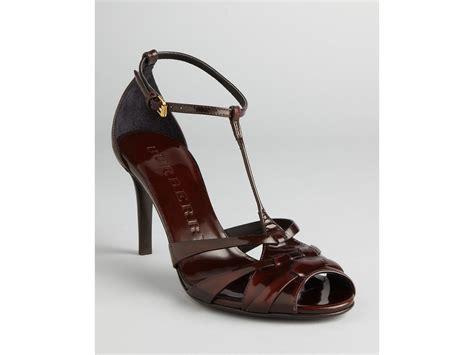 burberry sandals burberry sandals dunstall tstrap heel in brown bordeaux