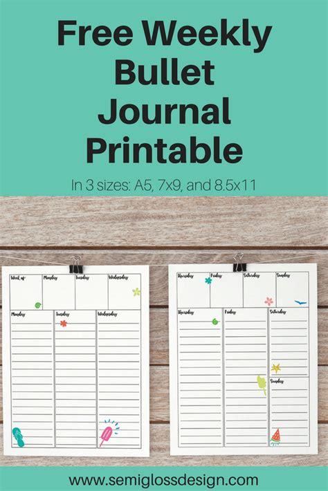printable planner journal free weekly bullet journal printable semigloss design