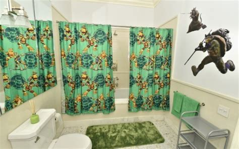 turtle bathroom decor lounge in luxury at this teenage mutant ninja turtle themed lair