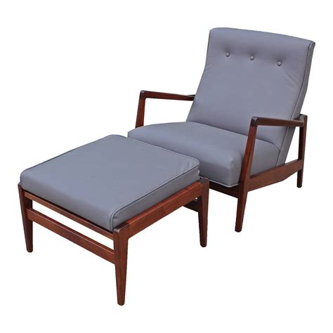 chair ottoman jens risom grey leather chair and ottoman at 1stdibs