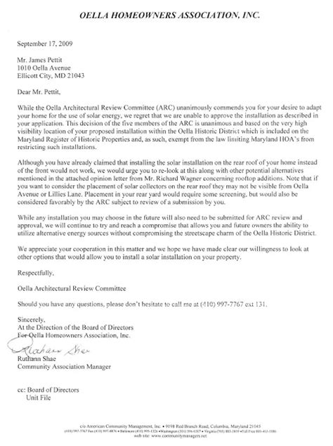 Response Letter To Hoa Oella Non Historic Property Owners Can Install Solar